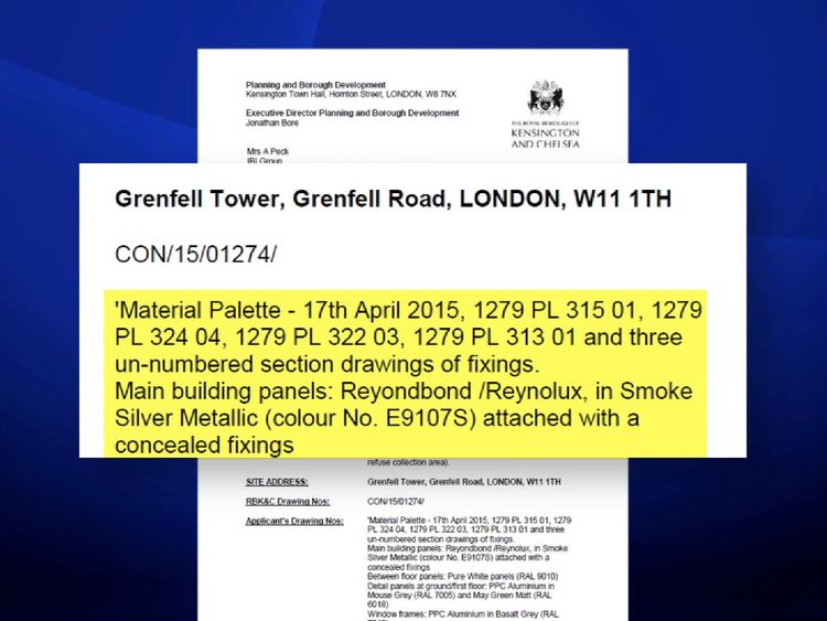 A planning application did not appear to specify the use of fire resistant cladding panels
