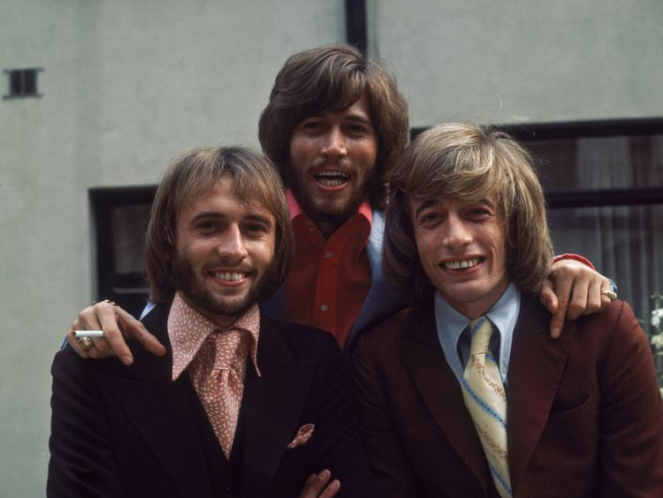 Maurice, Barry and Robin Gibb of the the Bee Gees, circa 1973