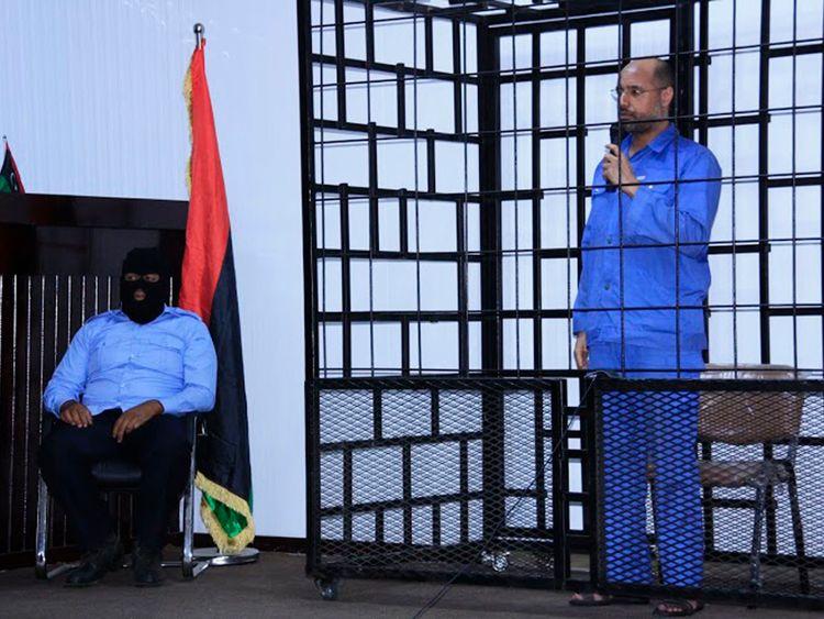 Saif al Islam at his trial in Zintan in 2014