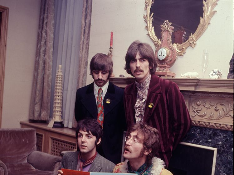 The Beatles at the launch of Sgt Pepper in 1967