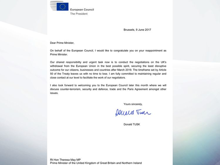 Donald Tusk's letter to Theresa May