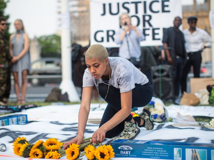A vigil for the victims of the Grenfell fire disaster was also held at Parliament Square