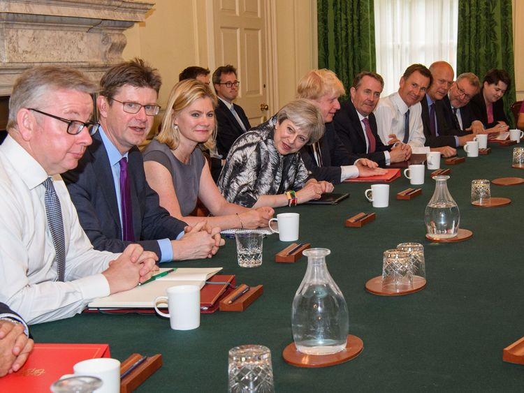 Theresa May met leading members of her Cabinet