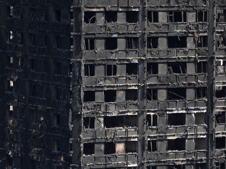 Extensive damage is seen to the Grenfell Tower block which was destroyed in a disastrous fire, in north Kensington, West London, Britain June 16, 2017