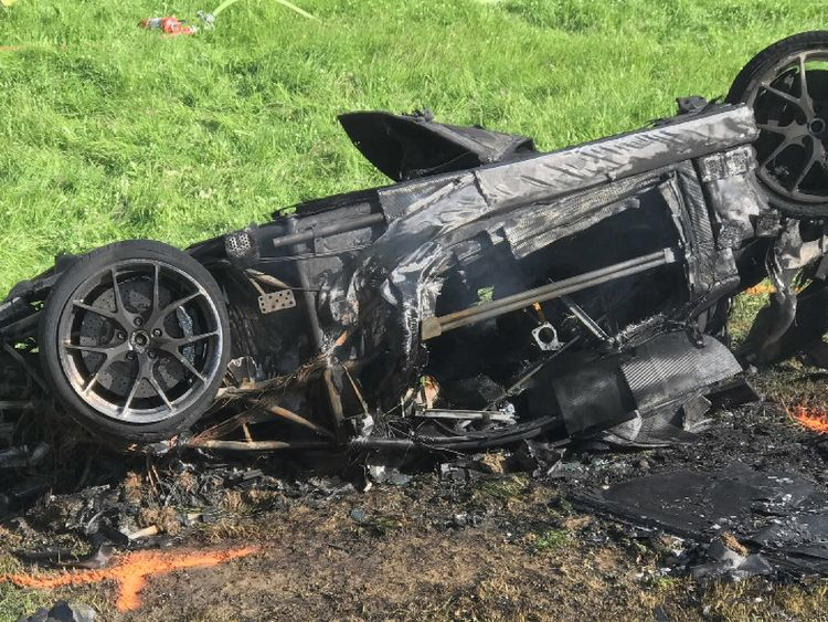 The car Hammond was driving seen after the crash