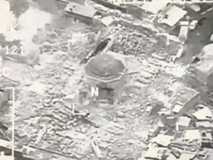 The iconic al Nuri mosque lies in ruins after being blown up by desperate jihadists