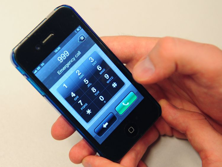 An emergency call being made on an Iphone mobile phone.