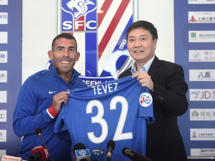 Carloz Tevez signed for Shanghai Shenhua for £71.6m