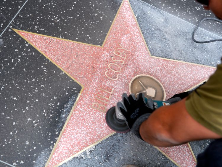 Bill Cosby's star on Hollywood's Walk of Fame was defaced in December 2014