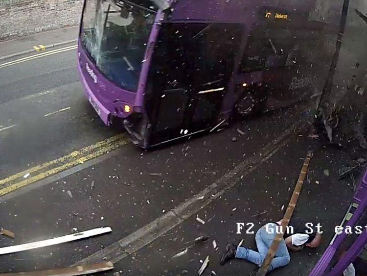 Simon Smith was thrown to the ground
