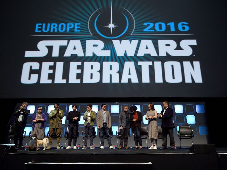 Mark Hamill, Carrie Fisher, John Boyega, Alden Ehrenreich, Phil Lord, Chris Miller, Rian Johnson and Kathleen Kennedy at the Star Wars Celebration