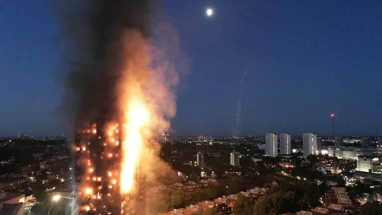 A huge fire engulfs the 24 story Grenfell Tower in Latimer Road, West London