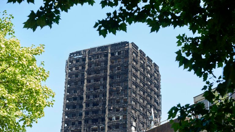 The burned-out shell of the Grenfell Tower block