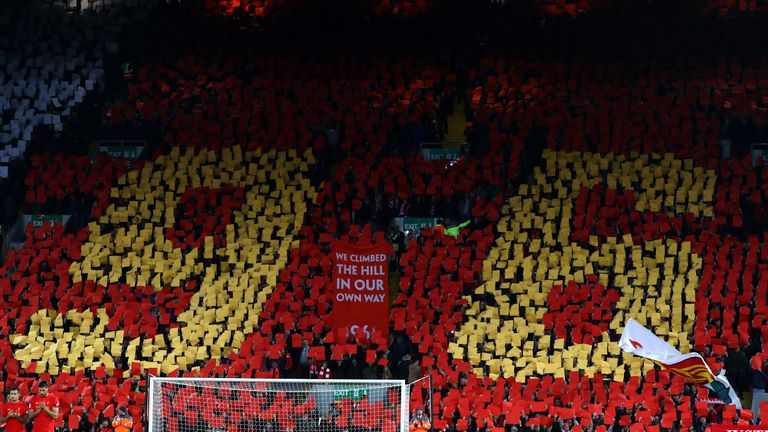 Liverpool fans remember the victims of the Hillsborough disaster on 5 April