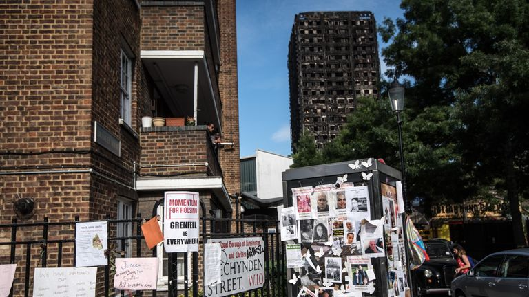 Tributes are left near Grenfell Tower