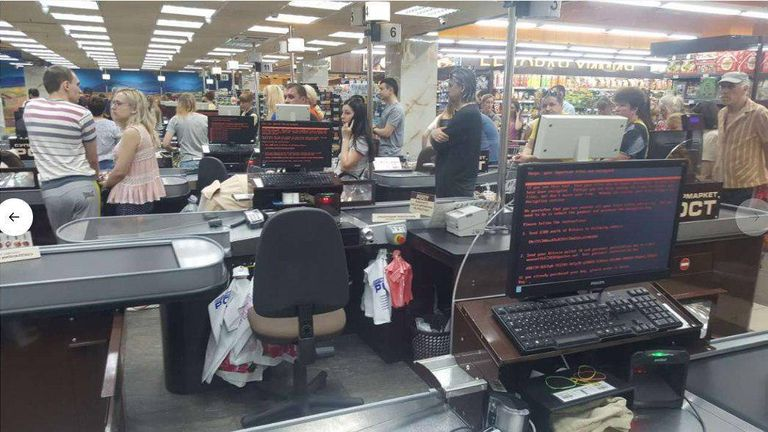 A supermarket in Krakov hit by the cyberattack Credit: @golub