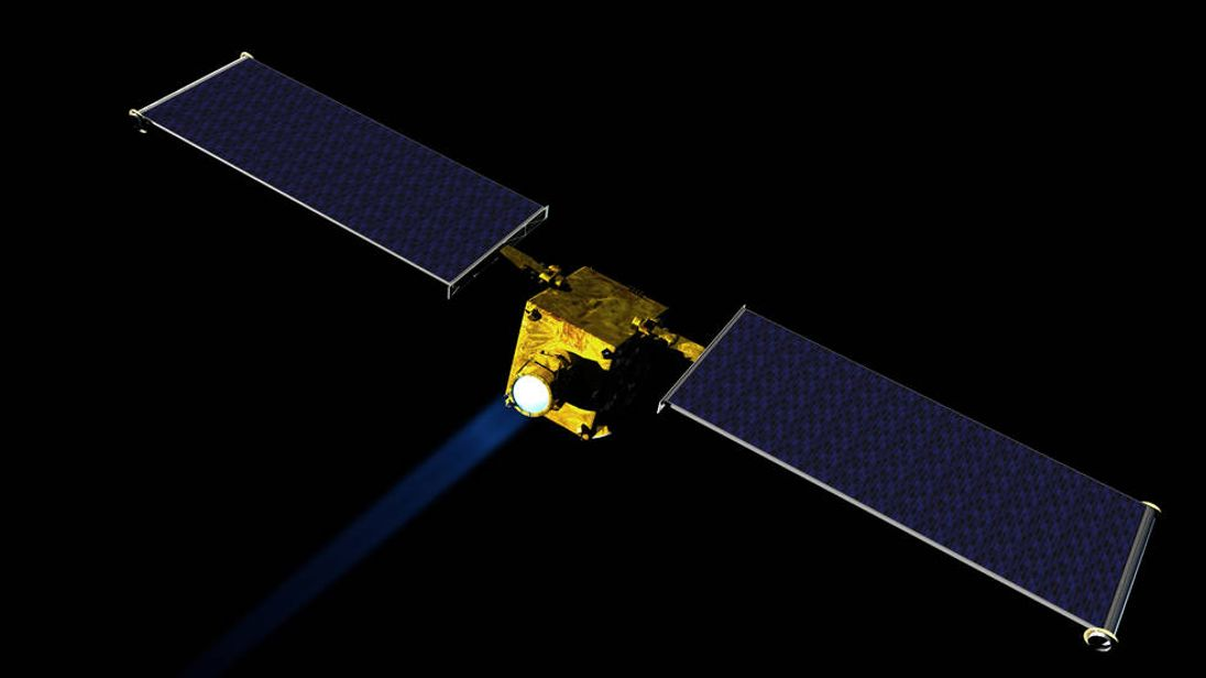Artist concept of NASA's DART spacecraft, which would be NASA's first mission to demonstrate an asteroid deflection technique for planetary defence. Pic: NASA/JHUAPL
