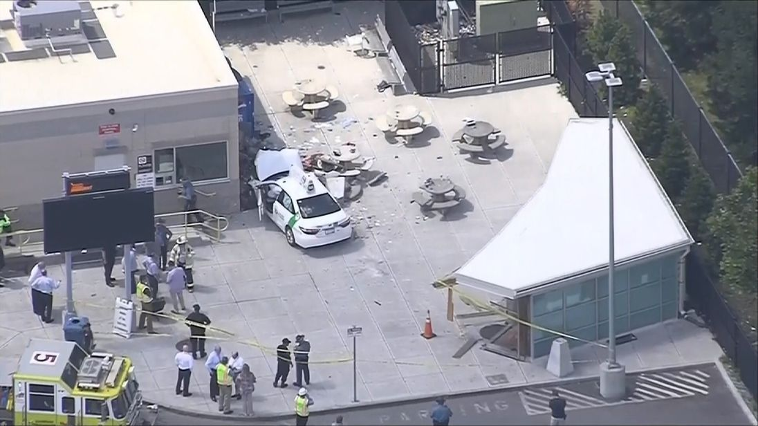 Injuries reported after vehicle strikes group of pedestrians near Boston airport