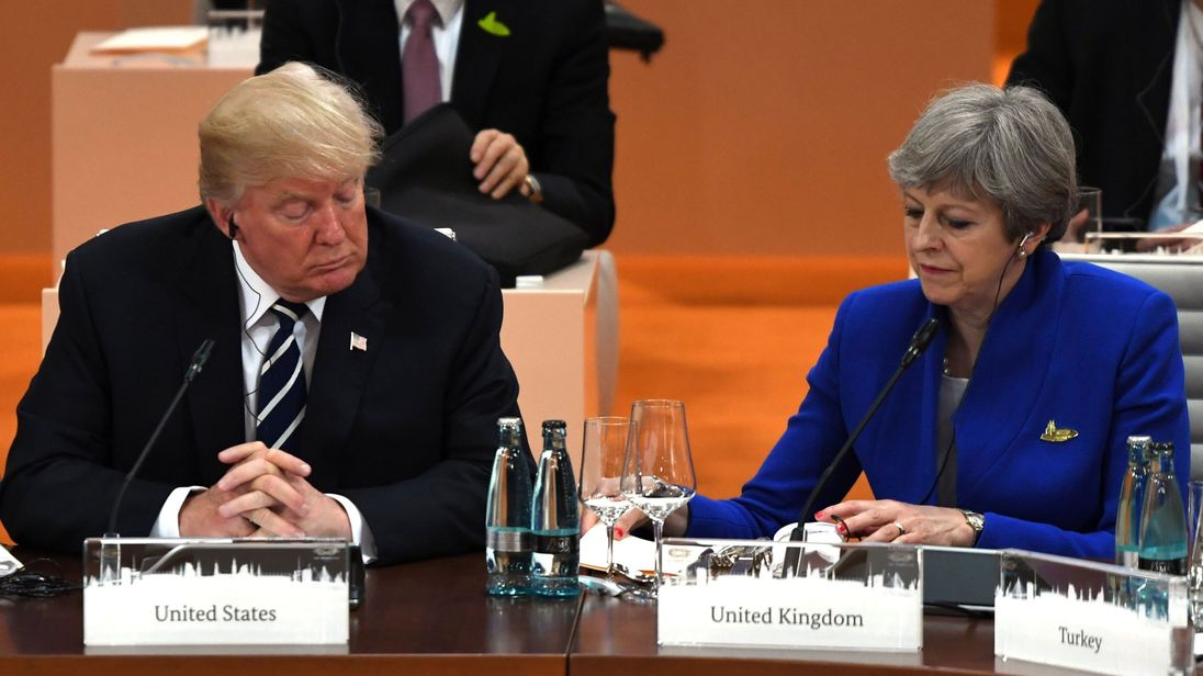 may hopes to make move on uk us trade deal in g20 meeting with trump. Black Bedroom Furniture Sets. Home Design Ideas
