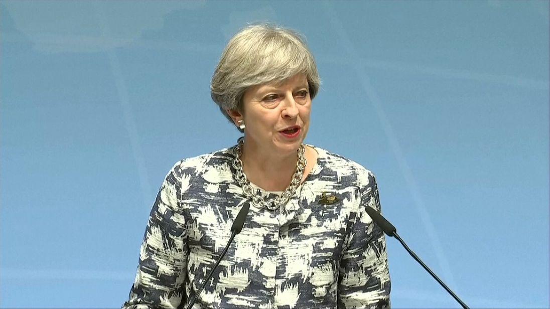 Theresa May speaking at the G20 in Hamburg