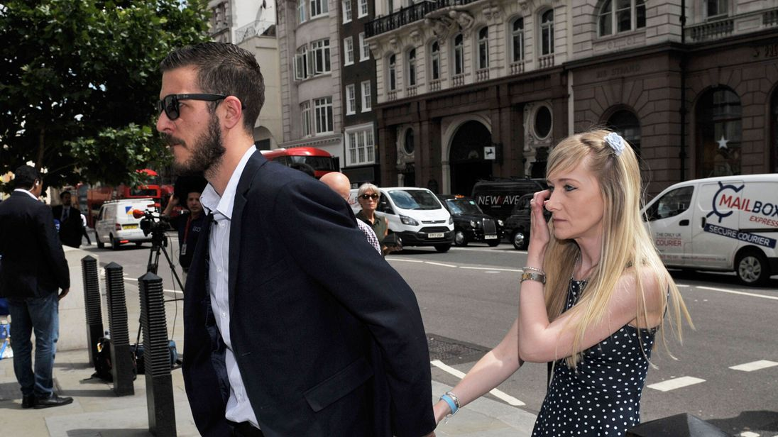 Charlie Gard's parents Connie Yates and Chris Gard arriving at the High Court in London for a hearing in their latest bid to see him treated with an experimental therapy. PRESS ASSOCIATION Photo. Picture date: Monday July 10, 2017. The terminally ill 11-month-old, who is on life support at Great Ormond Street Hospital (GOSH), remains at the centre of a legal battle which has gained interest across the globe. See PA story HEALTH Charlie. Photo credit should read: Nick Ansell/PA Wire