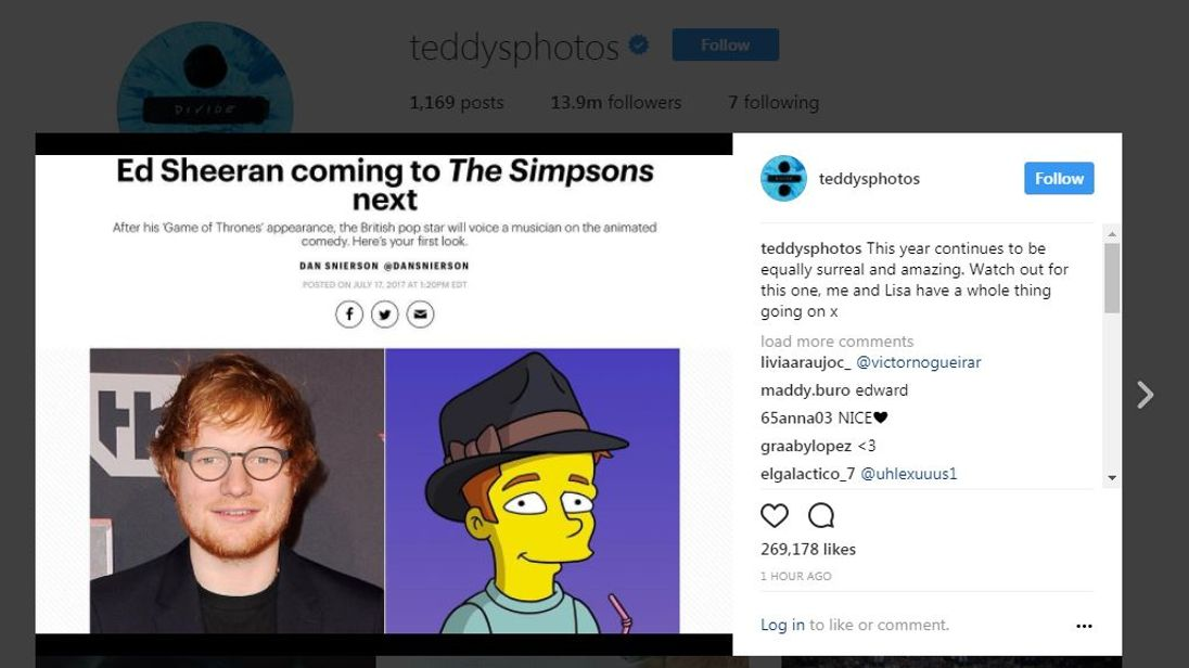 Sheeran writes about his new role on Instagram