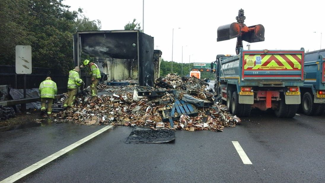 A lorry carrying Lion bars caught fire on the A2 in Kent Credit: Highways England