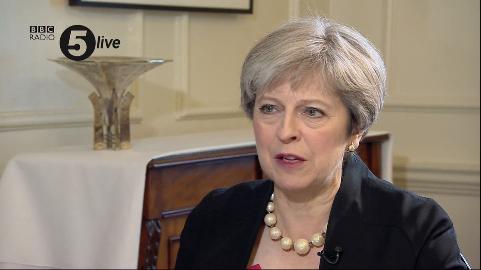 Theresa May says she shed a tear after hearing the exit poll for June's election