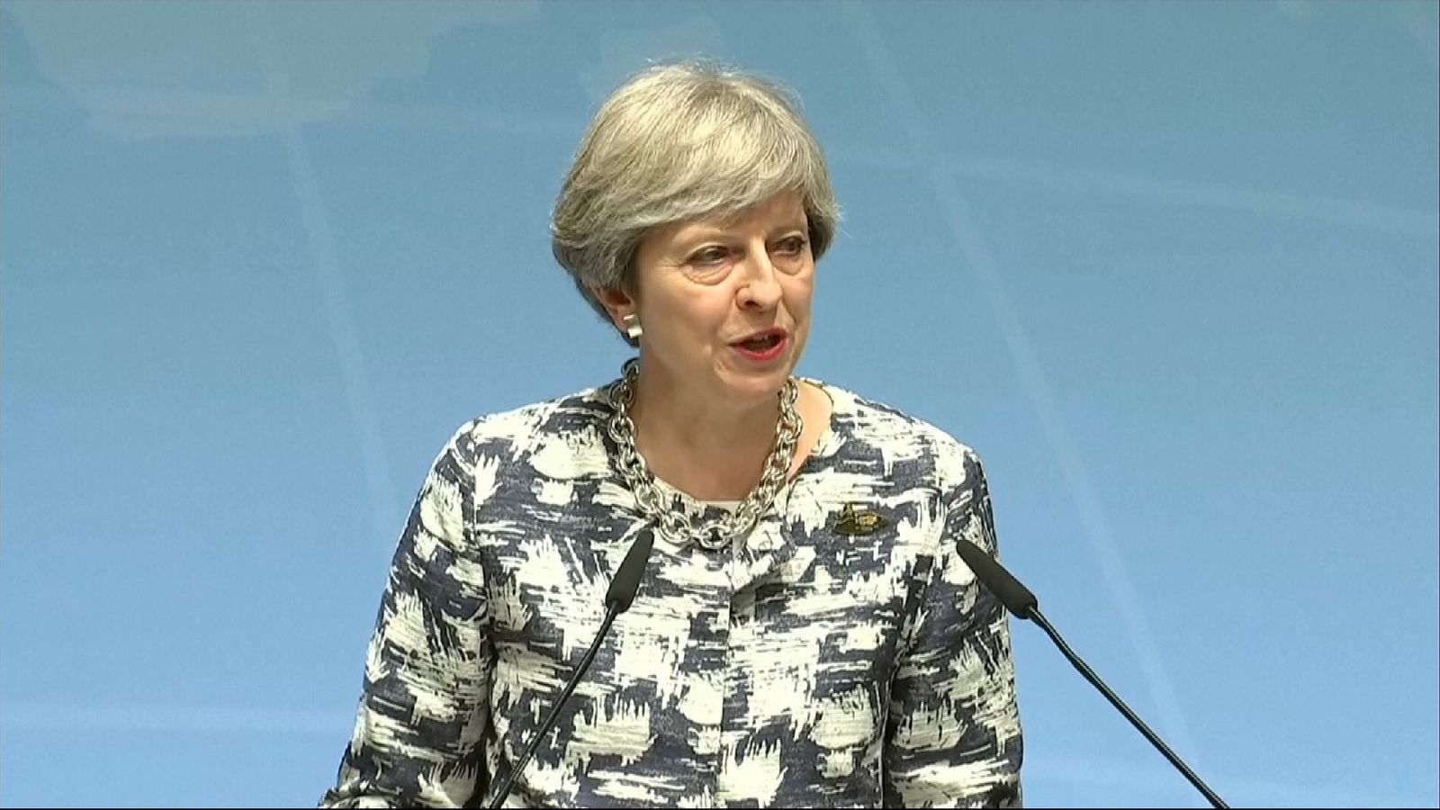 Theresa May speaking at the G20 in Hamburg