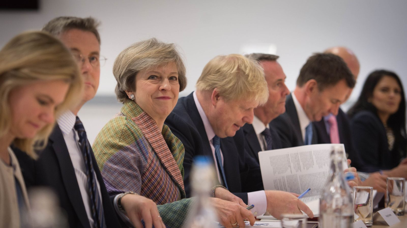 Prime Minister Theresa May holding a Cabinet meeting