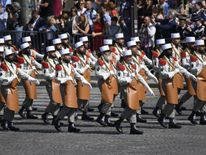 Pioneers of the French Foreign Legion march during the annual Bastille Day military parade