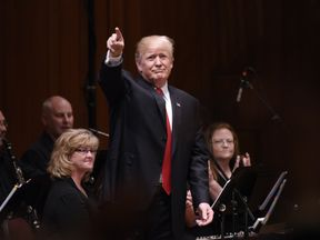 S President Donald Trump participates in the Celebrate Freedom Rally at the John F. Kennedy Center for the Performing Arts