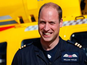 Prince William at the start of his final shift as a pilot with the East Anglian Air Ambulance
