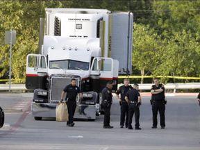 Dozens of people were inside the truck-trailer