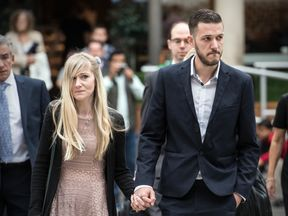 Chris Gard and Connie Yates, the parents of terminally ill baby Charlie Gard, arrive at The Royal Courts of Justice on July 24, 2017 in London, England