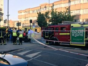 Emergency services at the scene (pic: Tower Hamlets police)
