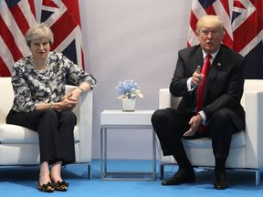 Theresa May and Donald Trump pictured at the G20 Summit in Hamburg