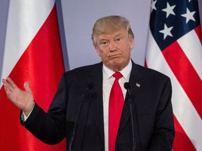 US President Donald Trump holds a joint press conference with his Polish counterpart in Warsaw