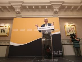 Sir Vince Cable speaking as he is named as the new leader of the Liberal Democrats