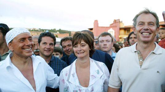 Tony and Cherie Blair with Silvio Berlusconi in Sardinia