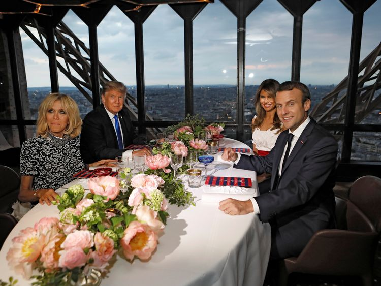 The Trumps and Macrons went to dinner in the Eiffel Tower last night