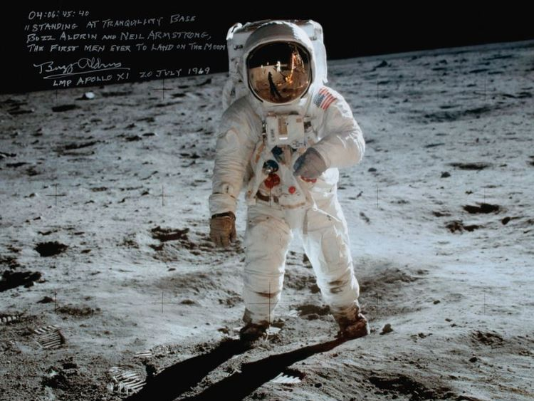 Photo taken of Buzz Aldrin by Neil Armstrong on Apollo 11 mission. Sotheby's