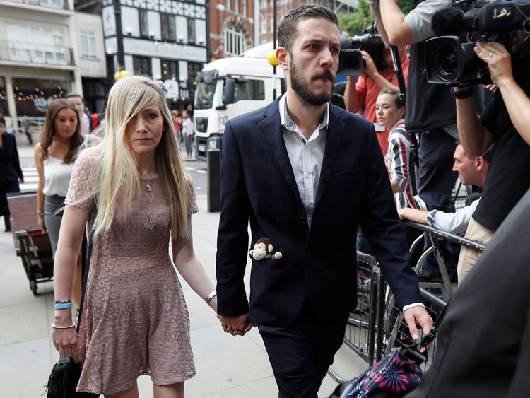 Connie Yates and Chris Gard arrive at the High Court in central London