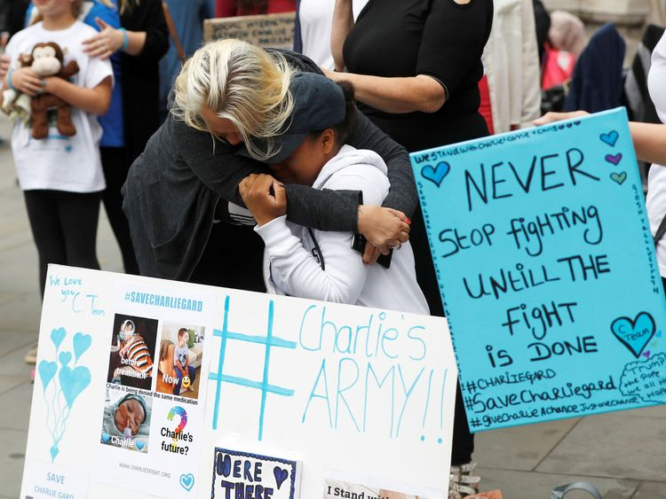Activists who supported Charlie Gard cried after learning his parents have ended their fight