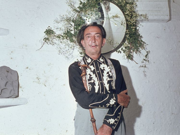 Spanish surrealist artist Salvador Dali pictured at his home in 1963