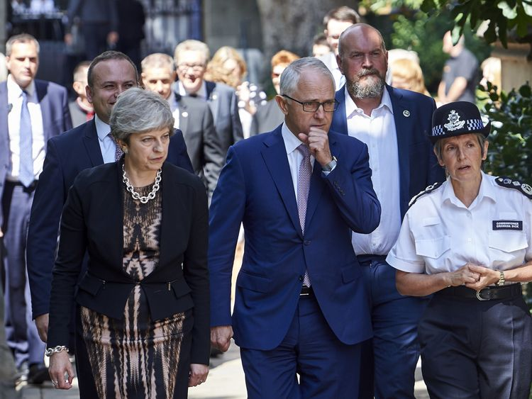 Theresa May, Malcolm Turnbull and Cressida Dick visit Borough Market