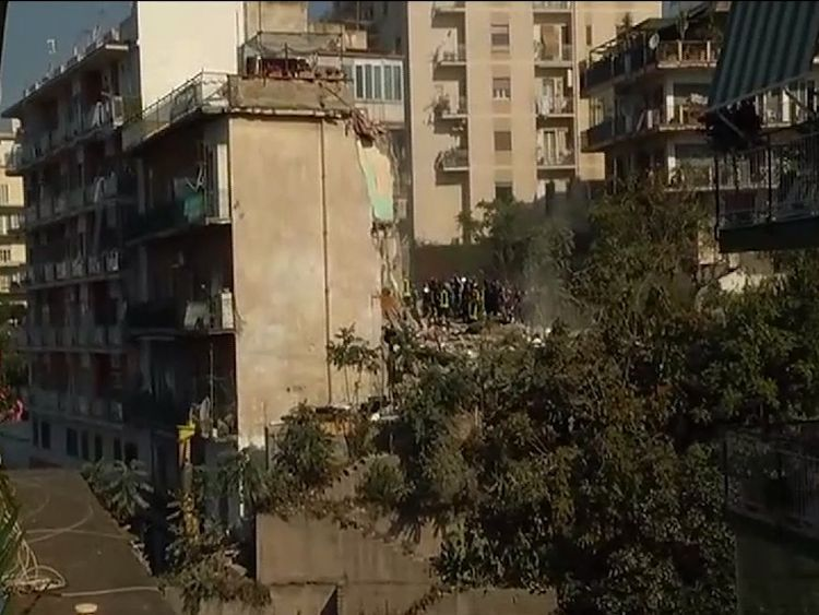 The four-storey tower collapsed in the town of Torre Annunziata