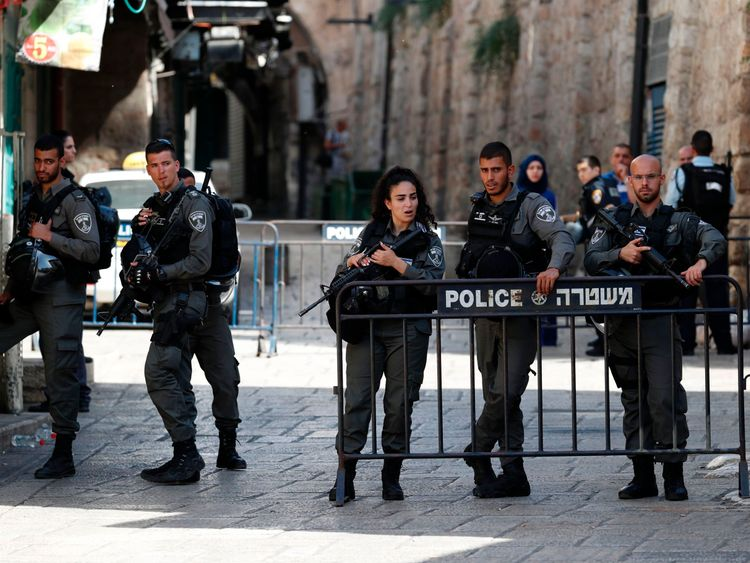 Israeli security forces guard one of the entrances to the al Aqsa mosque compound