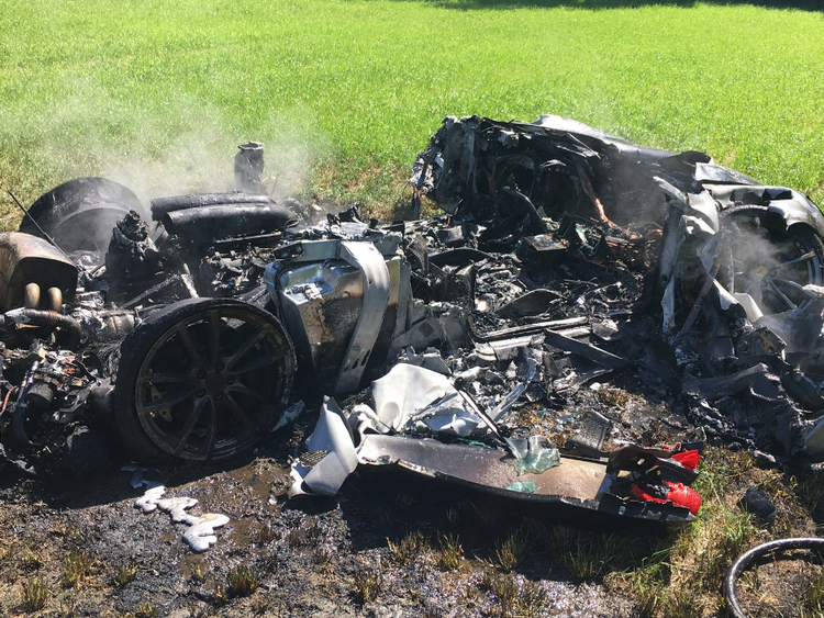 The supercar was reduced to a smouldering heap. Pic: @SYPOperations