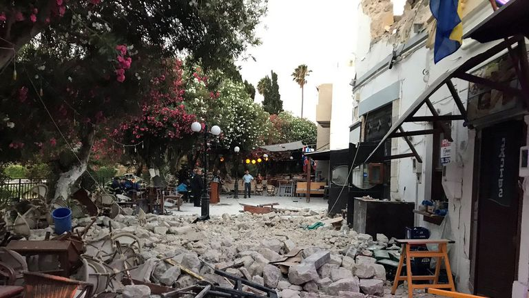 Damage caused by a quake in Kos, Greece
